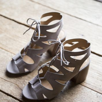 Beau Strappy Lace Up Heel, Taupe Grey