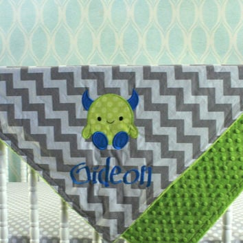 Monster baby Blanket - Applique and name included - You pick Fabrics and Colors
