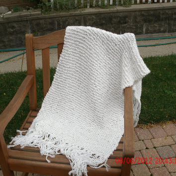 Knit Shawl - Prayer Shawl in white - Wedding Party - Bridal party - Prom - Women's Accessories