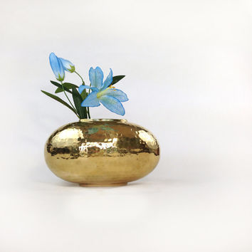 Vintage Hammered Brass Oval Vase / Made in India