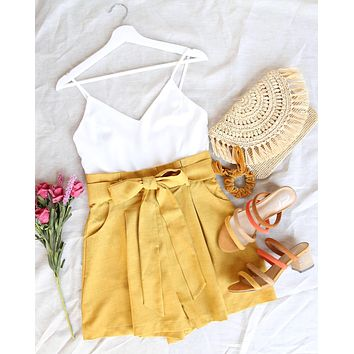 back on my feet paper bag waist romper - mustard