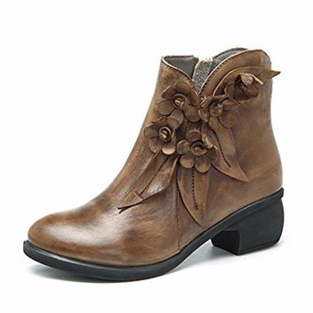 Socofy Leather Ankle Bootie, Women's Vintage Handmade Fashion Leather Boot Rose Floral Shoes Oxford Boots