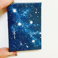 Miniature Painting, Cassiopeia Constellation, Original Art, Tiny Canvas, Night Sky, Space Pattern, Gift Idea