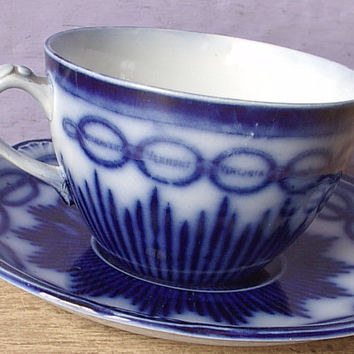 RARE Antique 1890's flow blue tea cup and saucer, Chain of States, Victorian English porcelain tea cup set, blue and white china tea cup