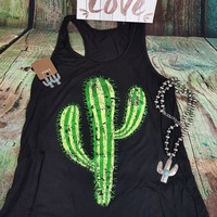 Cactus Printed Female Tank Tops New Arrival Summer Printing Fashion Loose Simple Girls Chic New Tee T-shirt Female Vest Harajuku