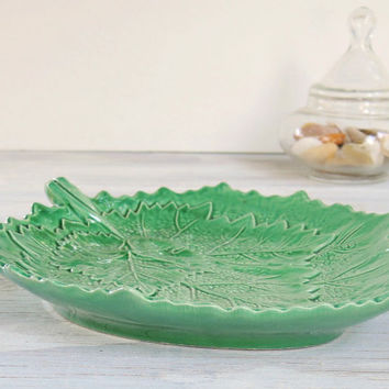 Italian Majolica Leaf Dish, Candy Bowl, Antique Green Vintage Majolica Italy Collectible Pottery Majolica Bowl