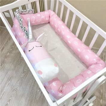Pink Unicorn Handmade Baby Crib Bumper Pillow Baby Bed Bumper Best Gift for Newborn Baby Shower Present Crib Fence Guardrail