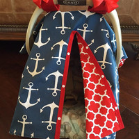 Baby Car Seat Cover / Navy Anchors with Red Quatrafoil / Baby Gift  / Gender Neutral / Nautical