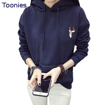 Women Sweatshirts Hoodies Sportswear Casual Loose Hooded Deer Embroidery Kawaii K-pop Cashmere Pullovers Tops Front Pocket Thick