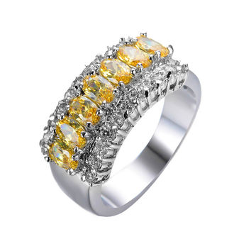 Topaz Yellow Geometric Ring 925 Sterling Silver Filled Vintage Wedding CZ Ring Party Engagement Rings For Men And Women RW0069