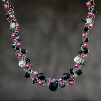 Fuschia Pearl black onyx crocheted wiring necklace Bridesmaid gifts Free US Shipping handmade Anni designs
