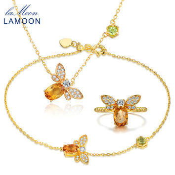 LAMOON Sweet Bee Pendant Jewelry Set Natural Gemstone Citrine 925 Sterling Silver Necklace Rings Bracelets Fine Jewelry Gift