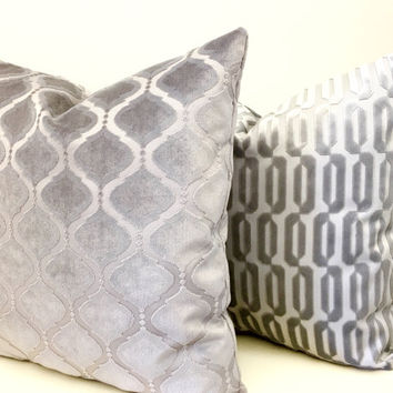 Grey Velvet Pillow Cover, Velvet Pillows,Grey Velvet Cushion,  Pillow, Decorative Pillows, Grey Velvet Couch Sofa Throw Pillow Covers 18X18