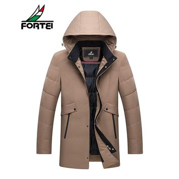 FORTEI Men's Packable Insulated Weight Hooded Puffer Down Jacket Ultra Parkas plus size winter jacket for men Fashion 179