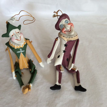 Vintage Mardi Gras Jester Ornaments Christmas Holiday Joker Porcelain Collectible Clowns Green Gold Purple Katherine's Collection