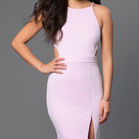 Sleeveless Knee Length Pink Dress