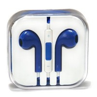 Brand New High Quality 3.5 mm Earphone In-ear Headphone with Microphone & Volume Control for iPhone iPad iPod and Mp3 Mp4 Player (blue)