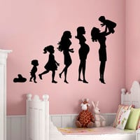 Wall Decals Pregnancy Mother With a Baby Mother's Day Interior Design Art Mural Vinyl Decal Sticker Girl Kids Nursery Baby Room Decor kk821