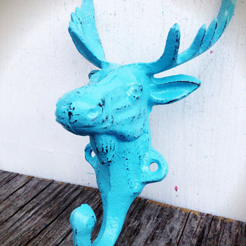 Baby Aqua Blue Moose Wall Hook – Funky Cabin Decor - Animal Wall Art
