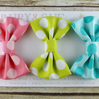 Easter Egg Hunt Set of 3 SMALL Bow Hair Clips by RubyandSue