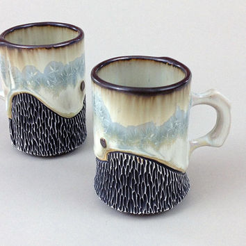 Espresso Cups, or Small Mugs in Light Blue Crystalline Glaze, Set of 2 Hand Carved Porcelain Cups. 3.25 in. tall.  Food and Dishwasher Safe