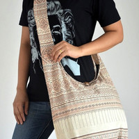 Flower Art Cotton Bag Crossbody Bag Hippie Bag Traditional Shoulder Bag Diaper Bag Asian Bag Yaam Bag Messenger Bag Cotton Bag Purse, Beige