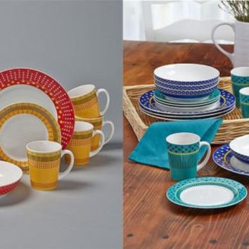 Dinnerware Collection Set 16 Pce Colorful Stoneware Red Yellow Blue Green NEW