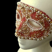 Gorgeous Red, White and Gold Mask Covered in Antique Lace and Studded With Faux Pearls, Glass Beads & Mercury Glass Beads, Free US Shipping