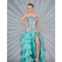 2013 Prom Dresses - Mint Sequin & Chiffon Ruffled High-Low Prom Gown