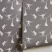 Primate Sequence Wallpaper by Anthropologie Grey One Size House & Home