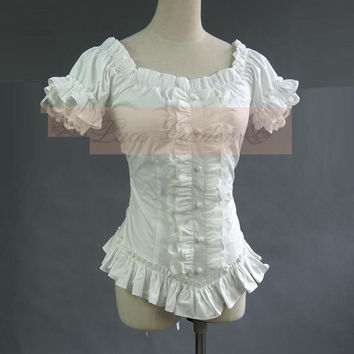 Summer women white short shirts Vintage Victorian Pleated lace Bandage shirts Ladies gothic blouse lolita costume