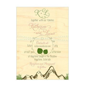 Mountain Alpine Trees and Aspen Leaves Wedding Invitation Collection on Wood Veneer