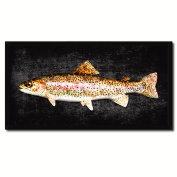 Rainbow Trout Fish Black Canvas Print Picture Frame Gifts Home Decor Nautical Wall Art
