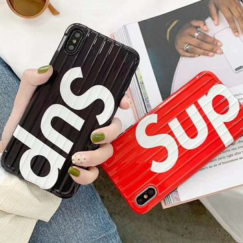 Supreme Tide brand curved luggage iPhone8 mobile phone case