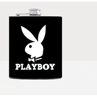 Playboy Flask-Hip flask-Black-Steel Flask-7oz-Urban-Liqour-Cocktail-Drinks-Bartender-Flask-21birthday-Alcohol-Whiskey