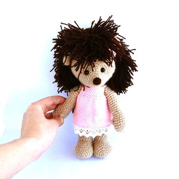 pink dressed girl hedgehog, stuffed hedgehog doll, crocheted porcupine, amigurumi hedgehog, pink dark brown,