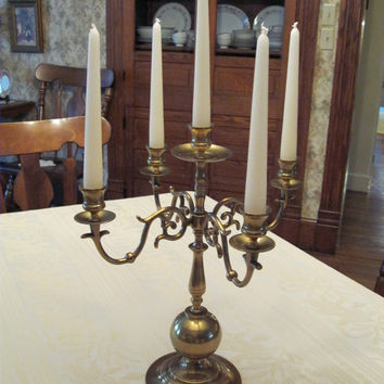 Vintage Brass Candelabra, Christmas Table Centerpiece/Decor, Large Candle Holder, Elegant Gold Victorian Decor, Four Arms Five Candlelights
