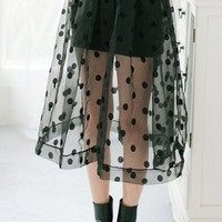 Dotted Overlay Skirt