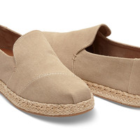 DESERT TAUPE WASHED CANVAS WOMEN'S DECONSTRUCTED ALPARGATAS