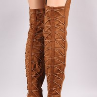 Elasticized Lattice Back Knee High Block Heeled Riding Boots