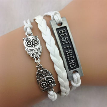 Owl Bestfriend Wax String Fashion Bracelet