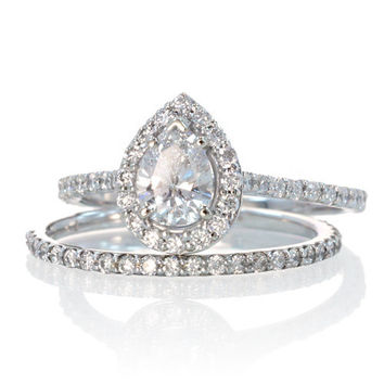 Pear Shape Teardrop White Sapphire and Diamond Halo Engagement Solitaire Ring Bridal Set