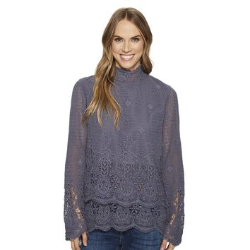Fringed Crochet Long Sleeve Double Layer Pullover in Carbon by True Grit (Dylan)