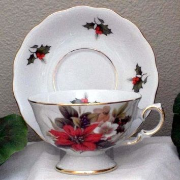 Laurel Poinsettia Porcelain Tea Cups (Teacups) and Saucers Set of 2