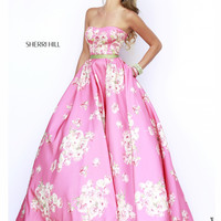 Fitted Bodice Sherri Hill Printed Prom Gown 32128