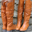 Love Lost Tan Riding Boot With Cross Straps & Buckle Detail