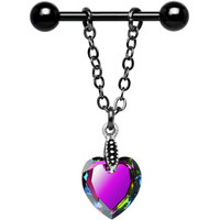Handcrafted Crystal Vitrail Heart Nipple Ring MADE WITH SWAROVSKI ELEMENTS | Body Candy Body Jewelry