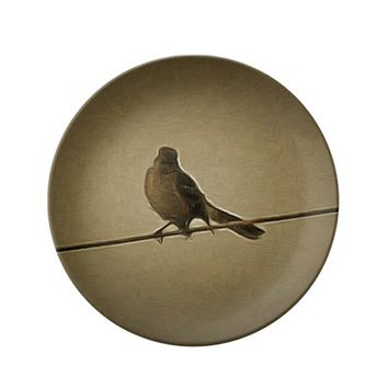 Decorative Porcelain Plate Bird Sitting
