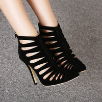 Sexy Pointed Toe Sex Black HIgh Heels Women Pumps with Zipper Cut-Outs Gladiator Brand Ladies Shoes Woman Hot