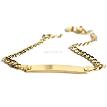 Id Plated Curb Link  Bracelet 18kts of Gold Plated